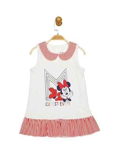 Minnie Mouse Lisanslı Çocuk Lacoste Elbise 18112 Beyaz